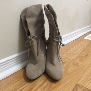 Beige Lord and Taylor Suede Heel Boots/Booties